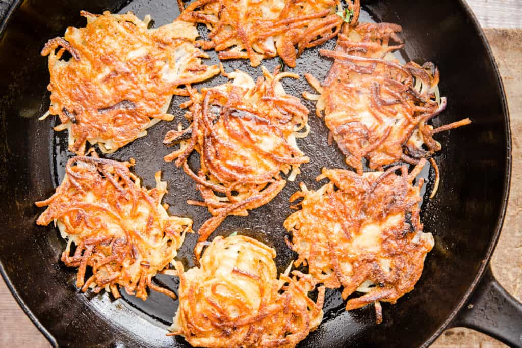 A skillet full of hash browns