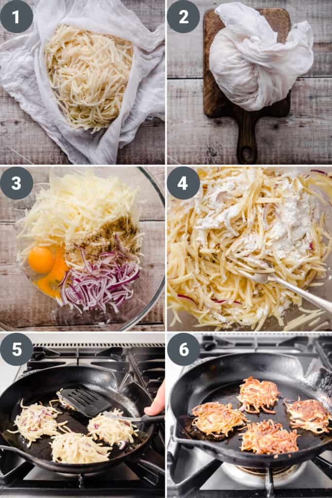6 image collage showing the process of making Hash Browns