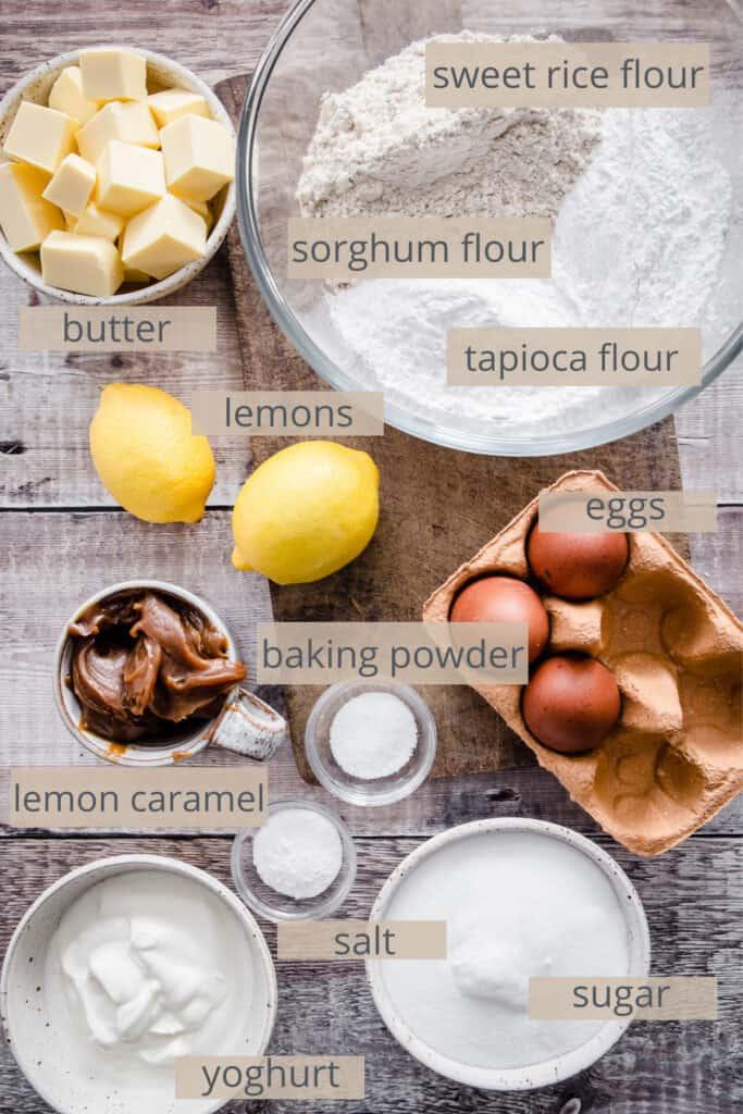 ingredients for lemon caramel cake