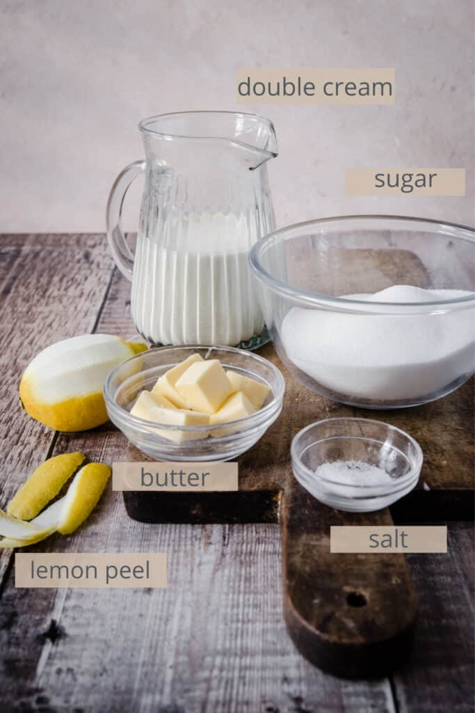 ingredients for lemon caramel