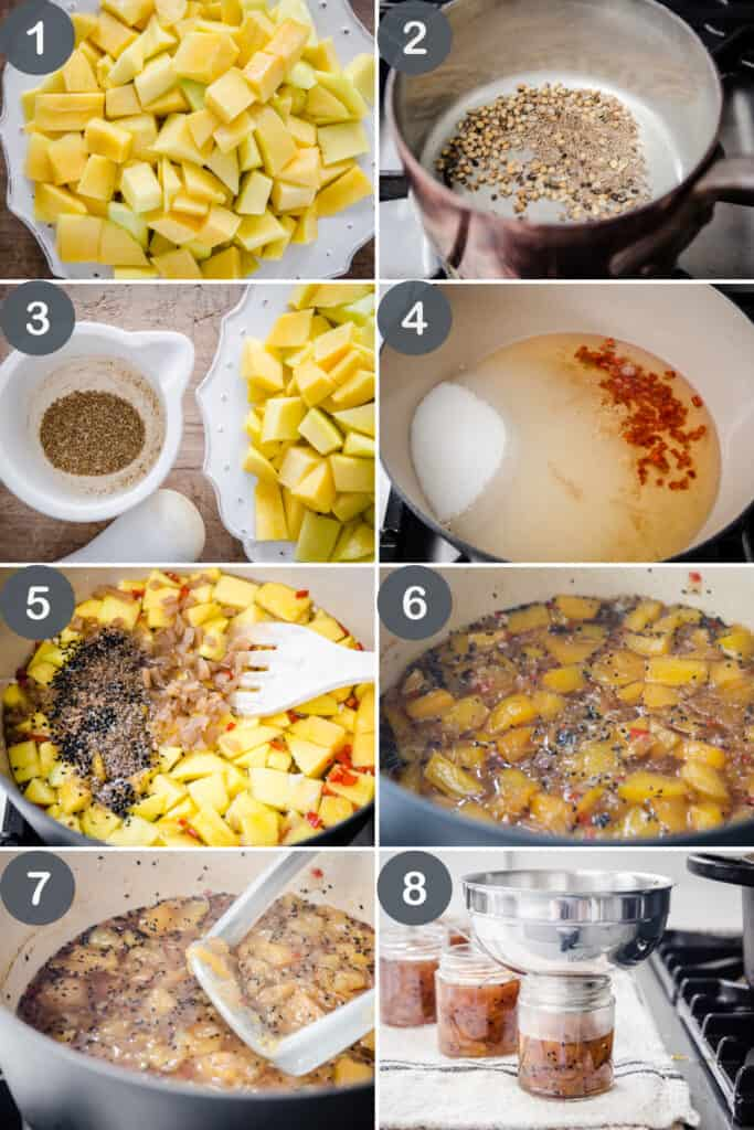 8 images showing the step by step process of making Mango Chutney