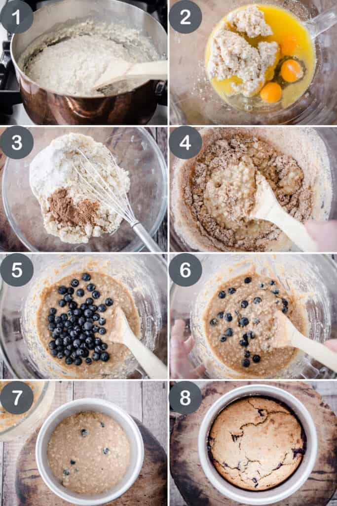 A series of process images showing the step by step process of making Leftover Porridge Cake