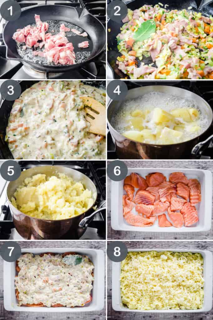 step by step photo collage of how to make fish pie