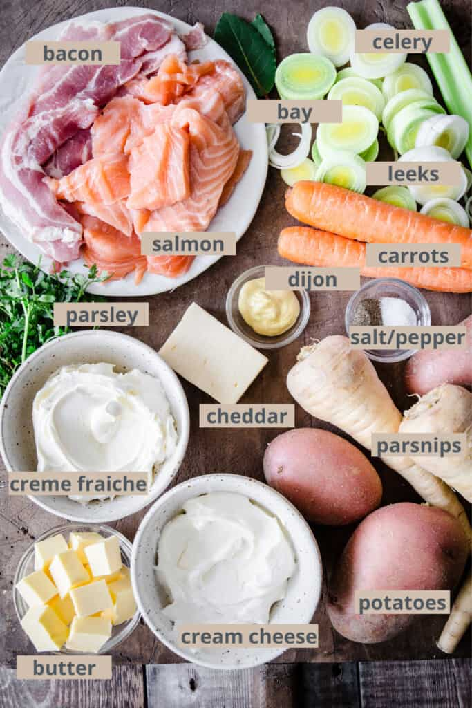 ingredients for fish pie