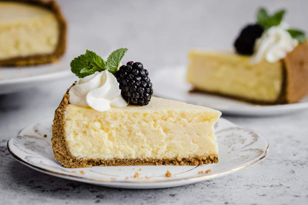 slice of cheesecake on a plate