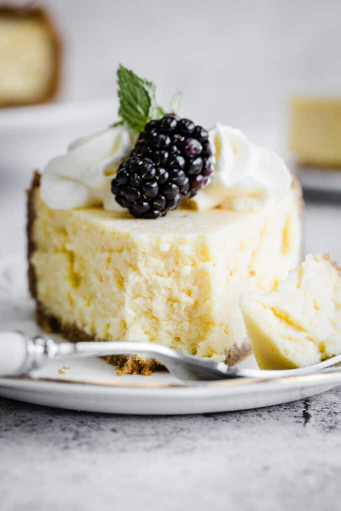 slice of cheesecake with forkful taken out