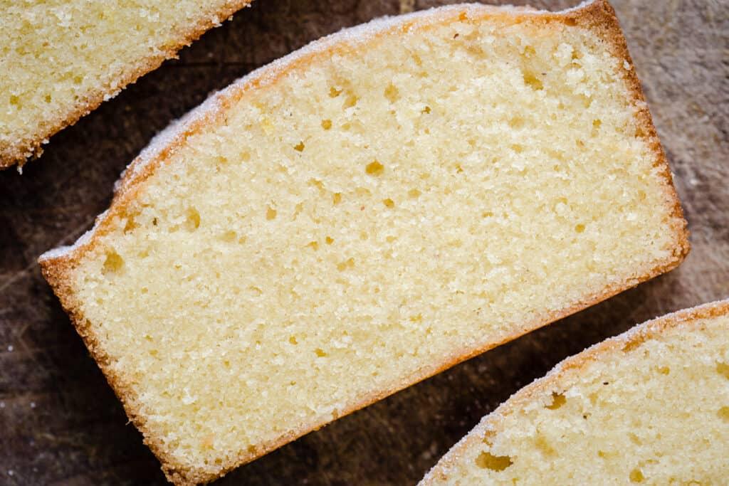 close up of a slice of Rice Flour Madeira Cake