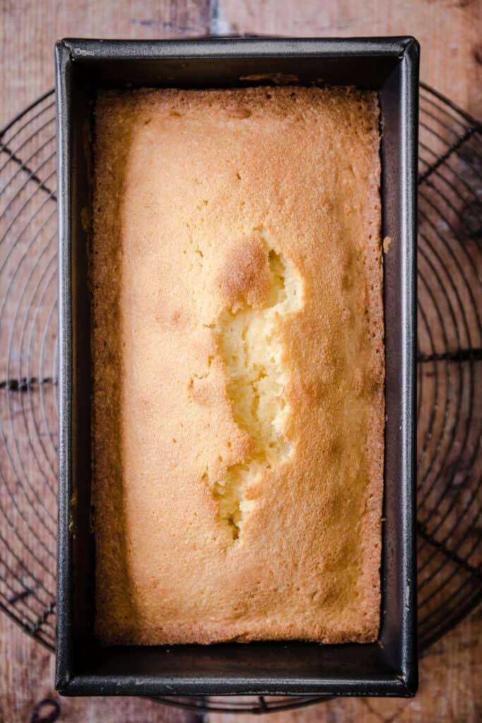 Rice Flour Madeira Cake in a cake tin