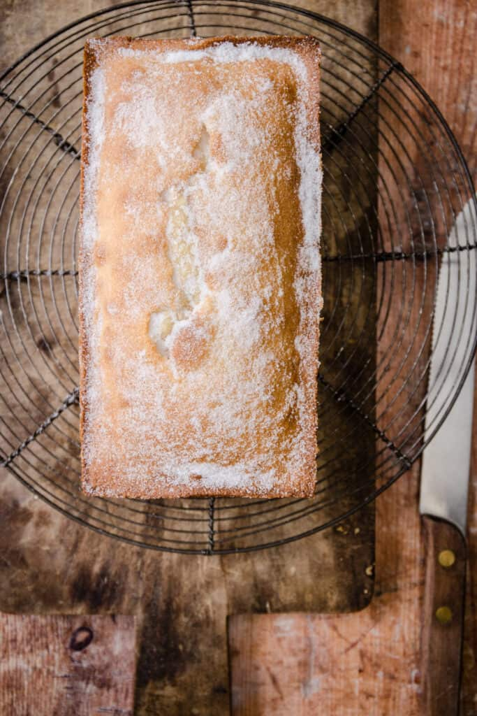 Rice Flour Madeira Cake on a cooling rack