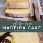 Pin image of gluten-free madeira cake