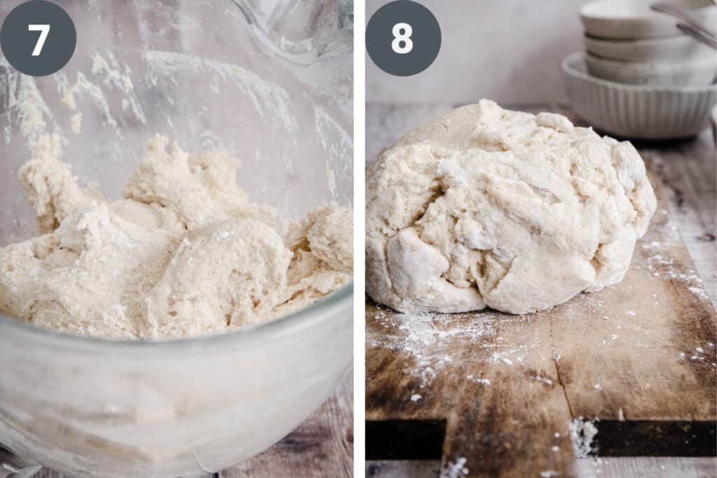 bread dough in a bowl and then bread dough on a wooden board