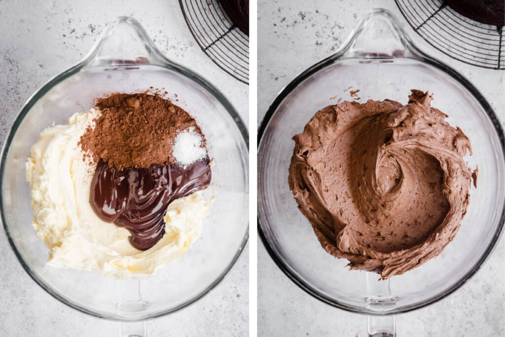 2 images of making chocolate buttercream