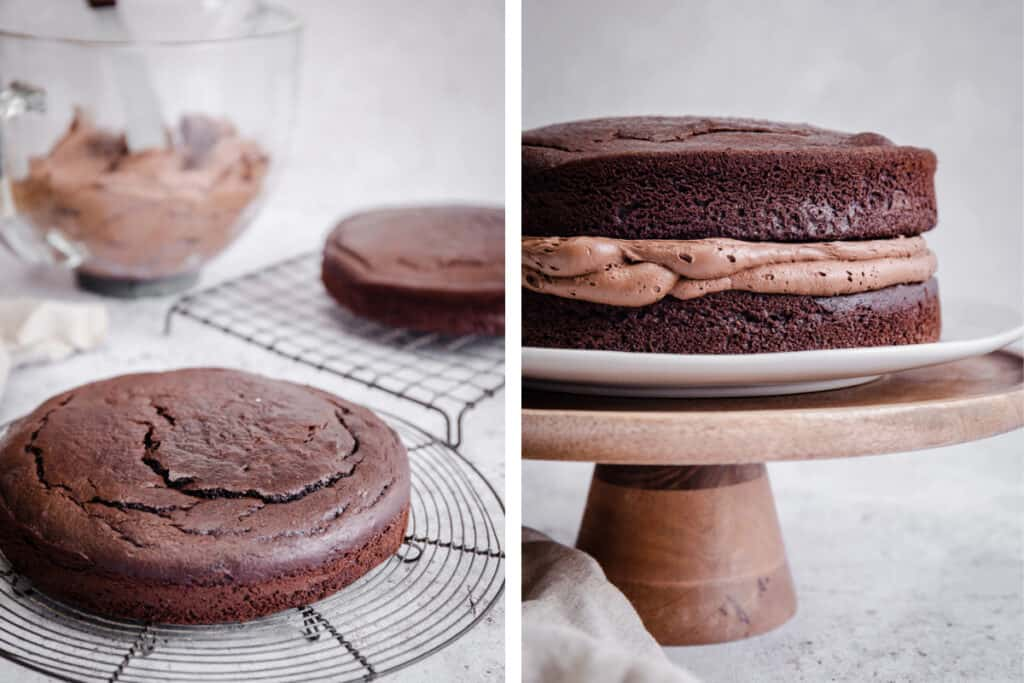 images of chocolate sponge cake being decorated