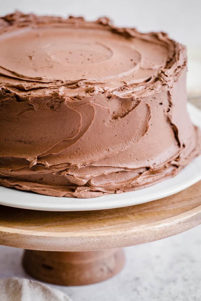 Close up of Gluten Free Chocolate Fudge Cake