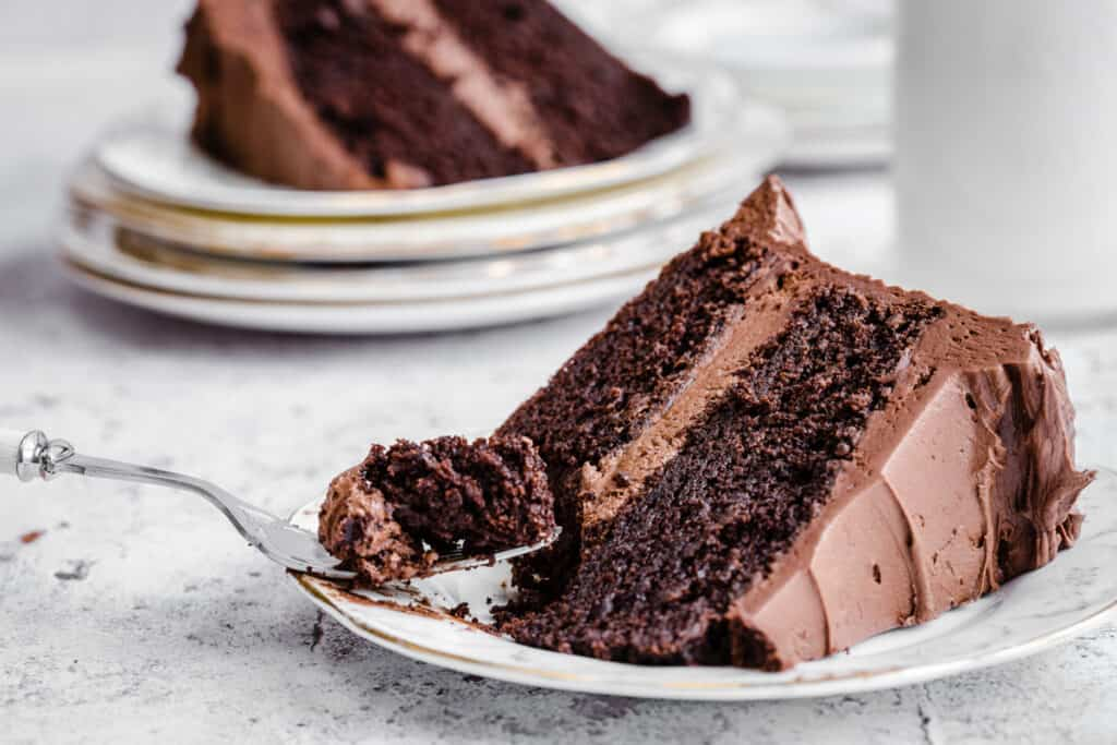 chocolate cake on a plate with a fork