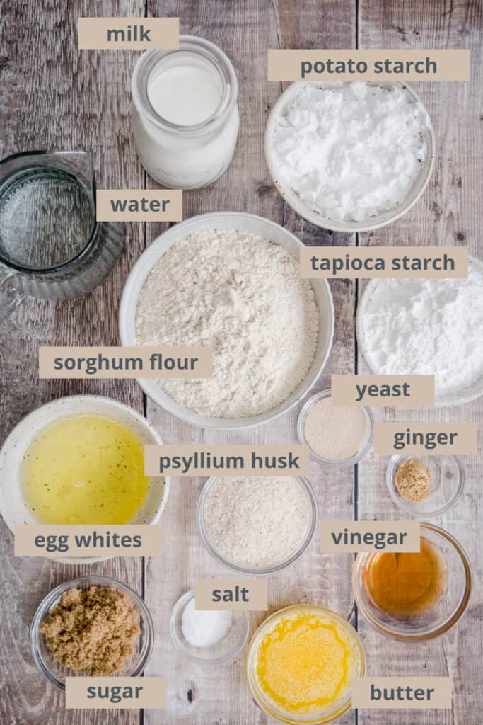 ingredients for bread on a table