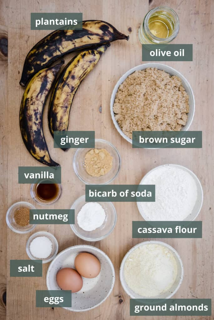 ingredients for plantain bread on table