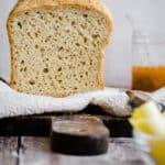 gluten free bread on a cloth on a wooden board