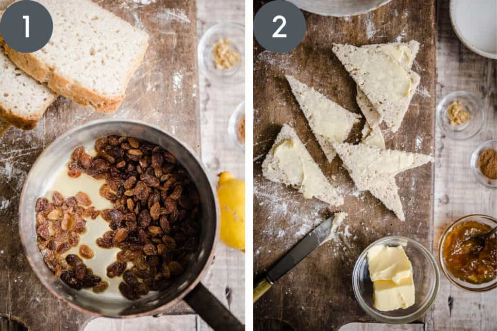 Two images of the process of making bread and butter pudding. One with sultanas in a pan, the other with buttered bread