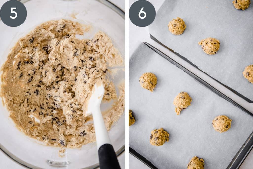 cookie dough in a bowl and then portioned on baking sheet