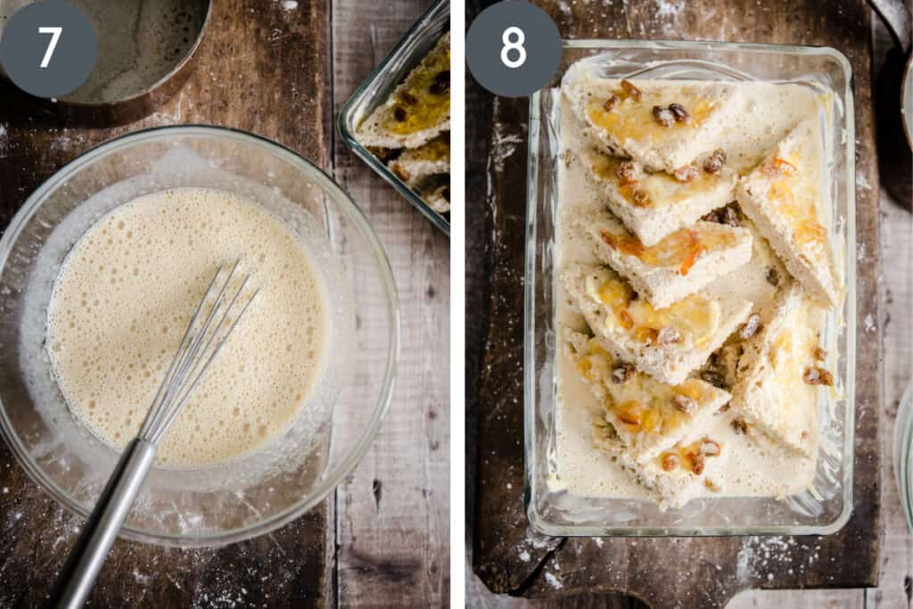 Two images of the process of making bread and butter pudding. one of the custard in a bowl, the other of the assembled ingredients