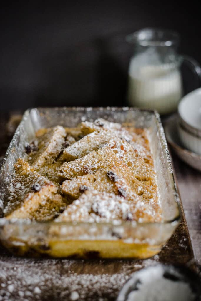ovenproof glass dish of bread and butter pudding