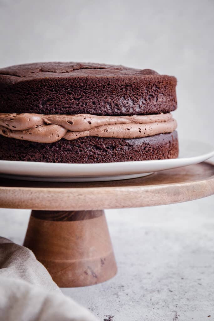 chocolate cake on wooden board