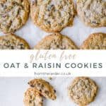two images of oat & raisin cookies with recipe title in between them