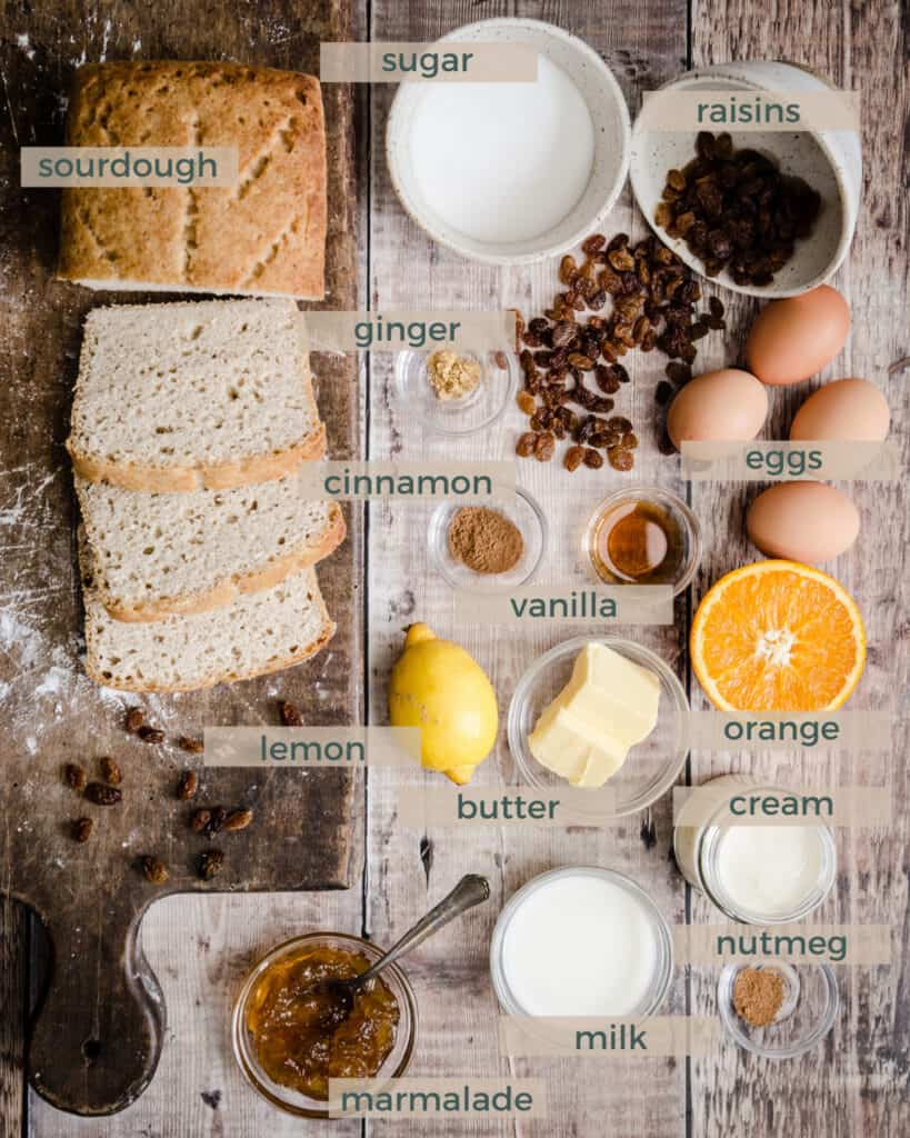 ingredients for bread and butter pudding