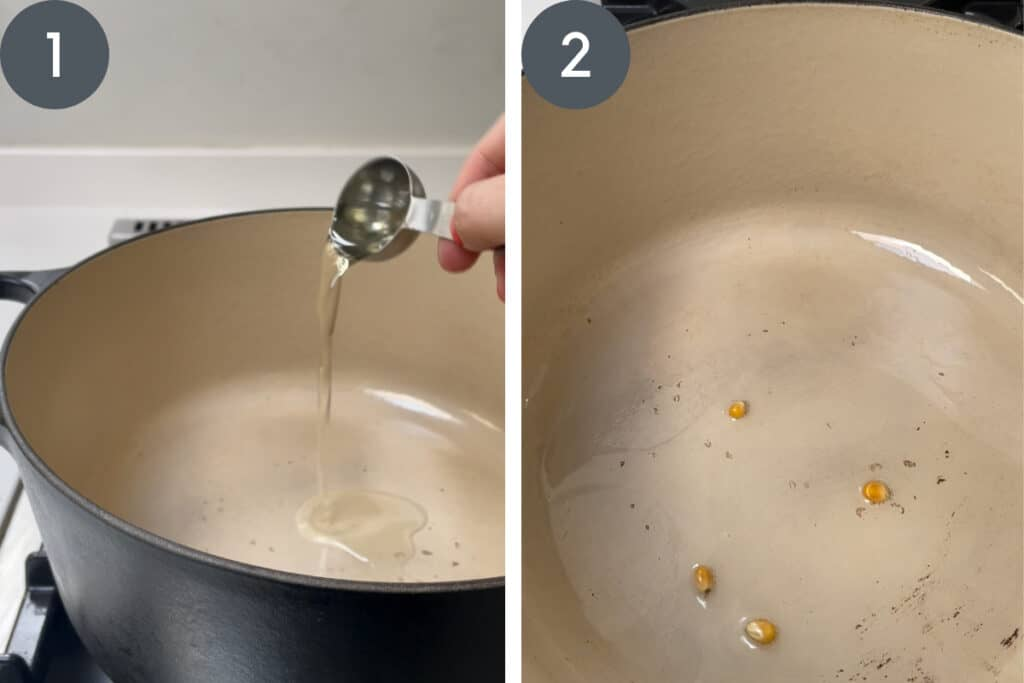 process images of making popcorn in pot
