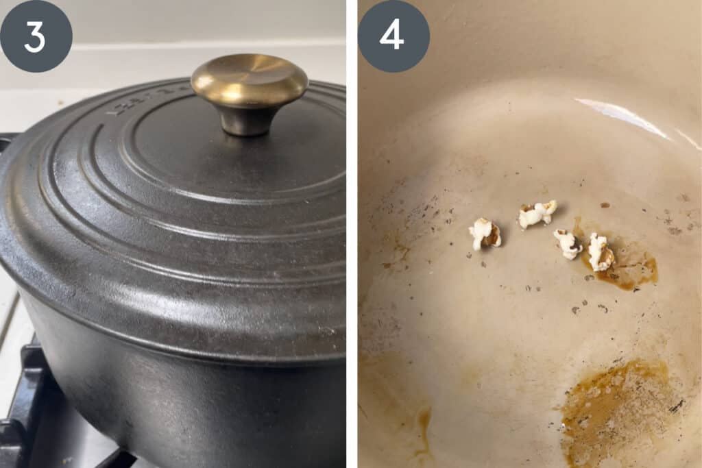 process images of popcorn cooking in pot