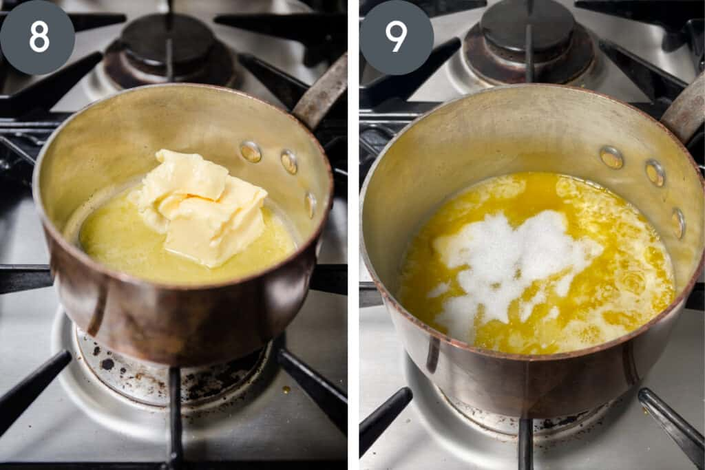 2 images of butter melting in saucepan, one with sugar