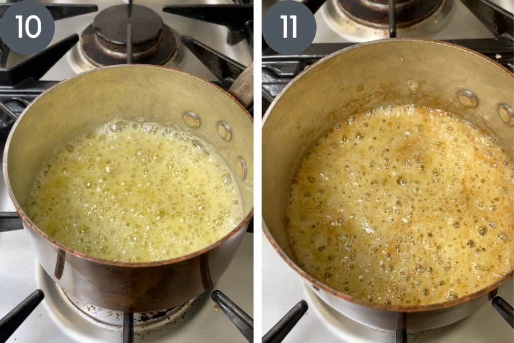 making butter for popcorn. Two images of saucepan with butter cooking