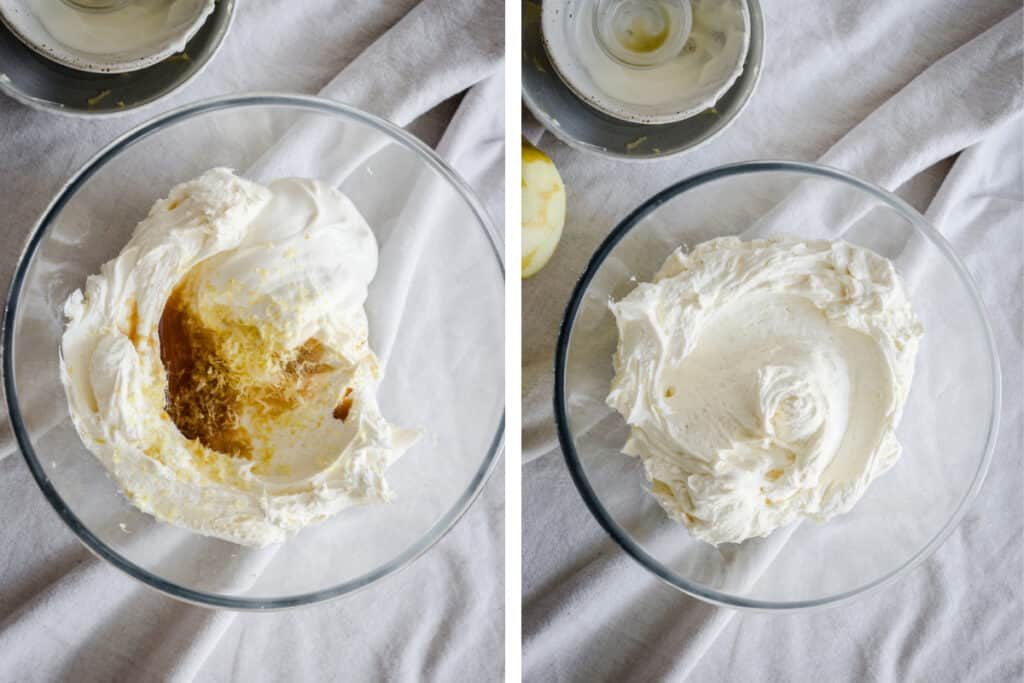 Two images showing buttercream in a bowl, pre and post mixing