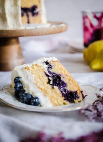 slice of blueberry cake on a plate