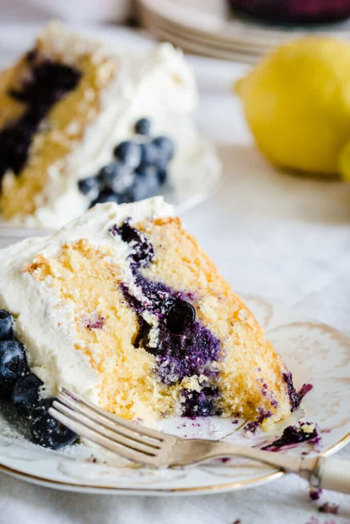 slice of blueberry cake on a plate with forkful removed