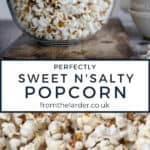 Two images of popcorn, one in a bowl and one close up with title text in between