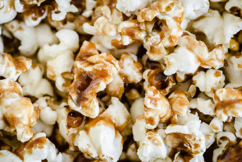 close up of sweet and salty popcorn