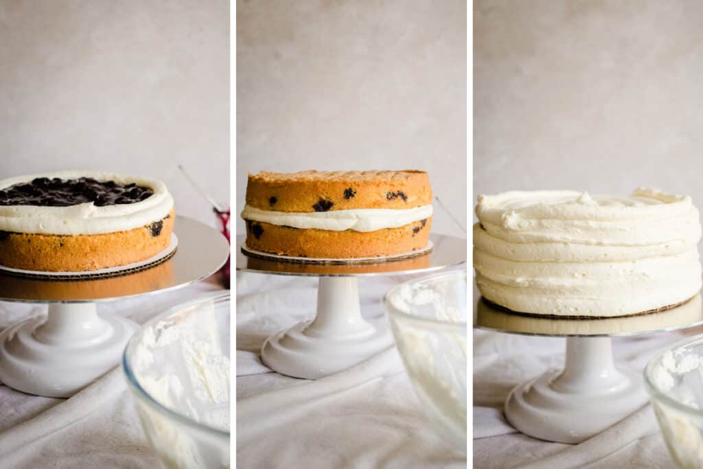 Three images showing assembly of blueberry cake