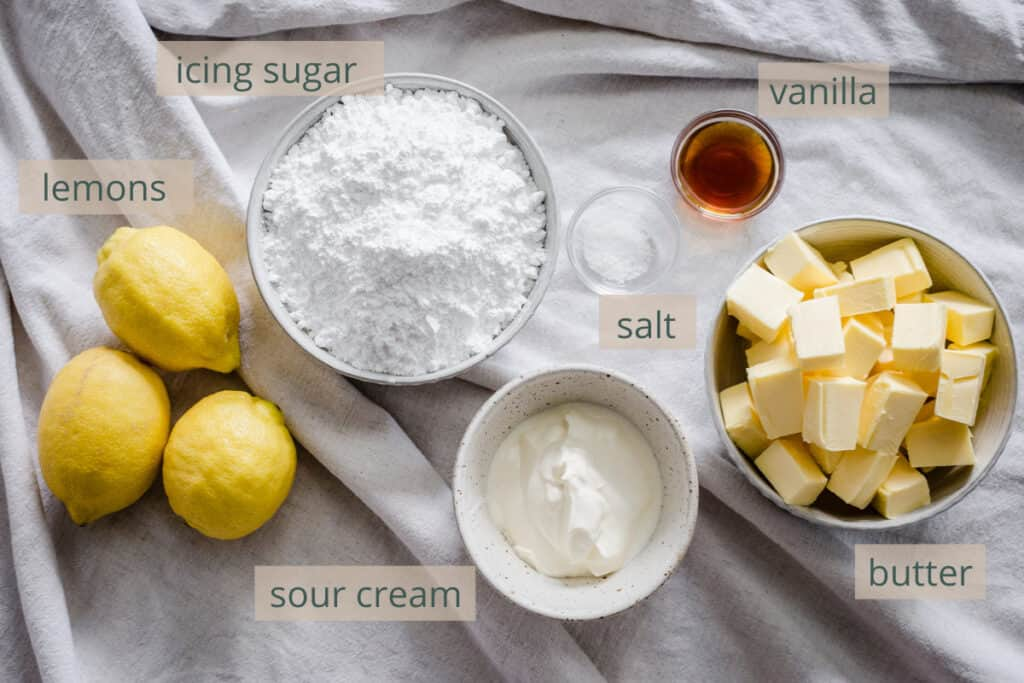 buttercream ingredients on a table