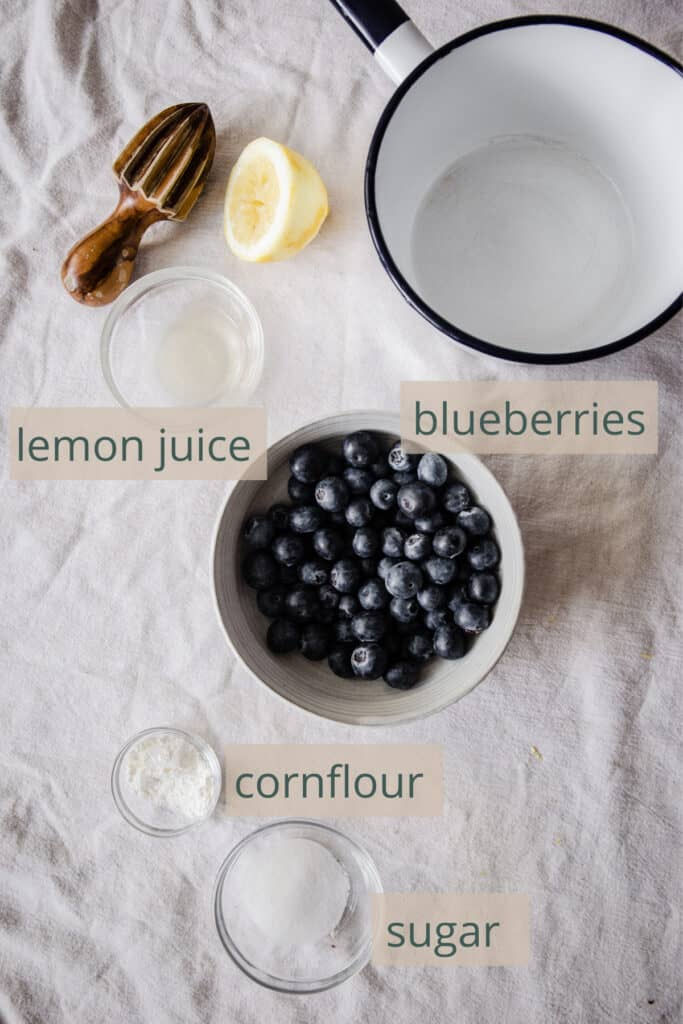 blueberry compote ingredients on a table
