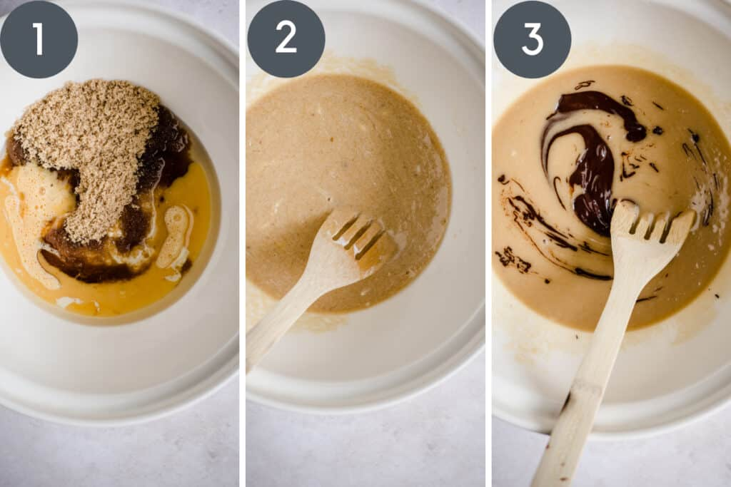 3 images of cake batter being stirred