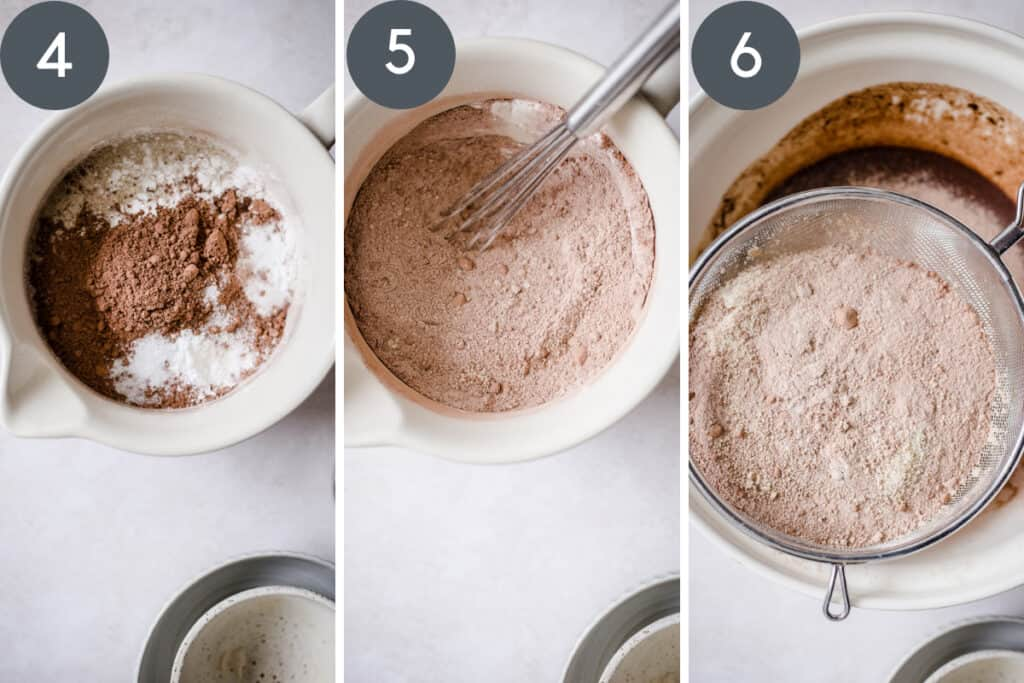 3 images of flour being sifted into cake batter