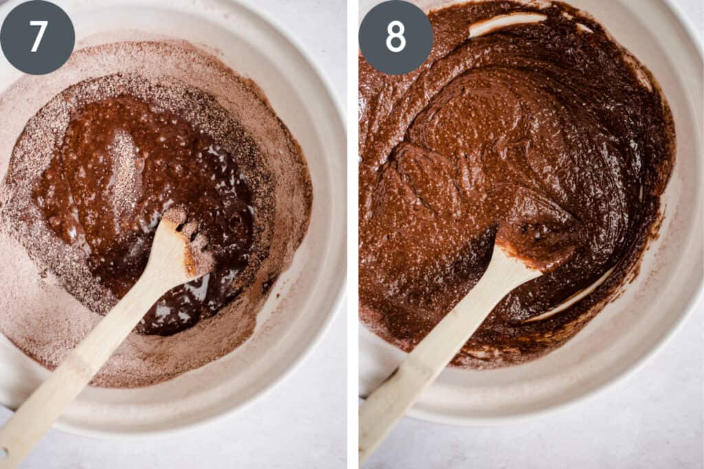 2 images showing chocolate cherry cake batter being stirred