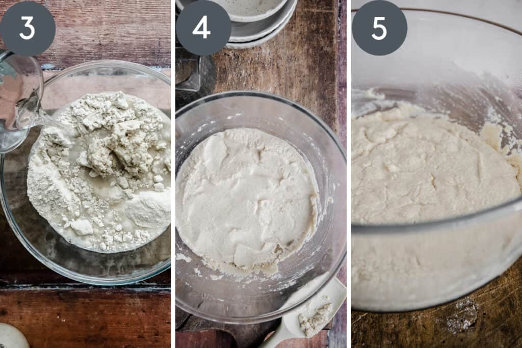 images showing levain being mixed in glass bowl