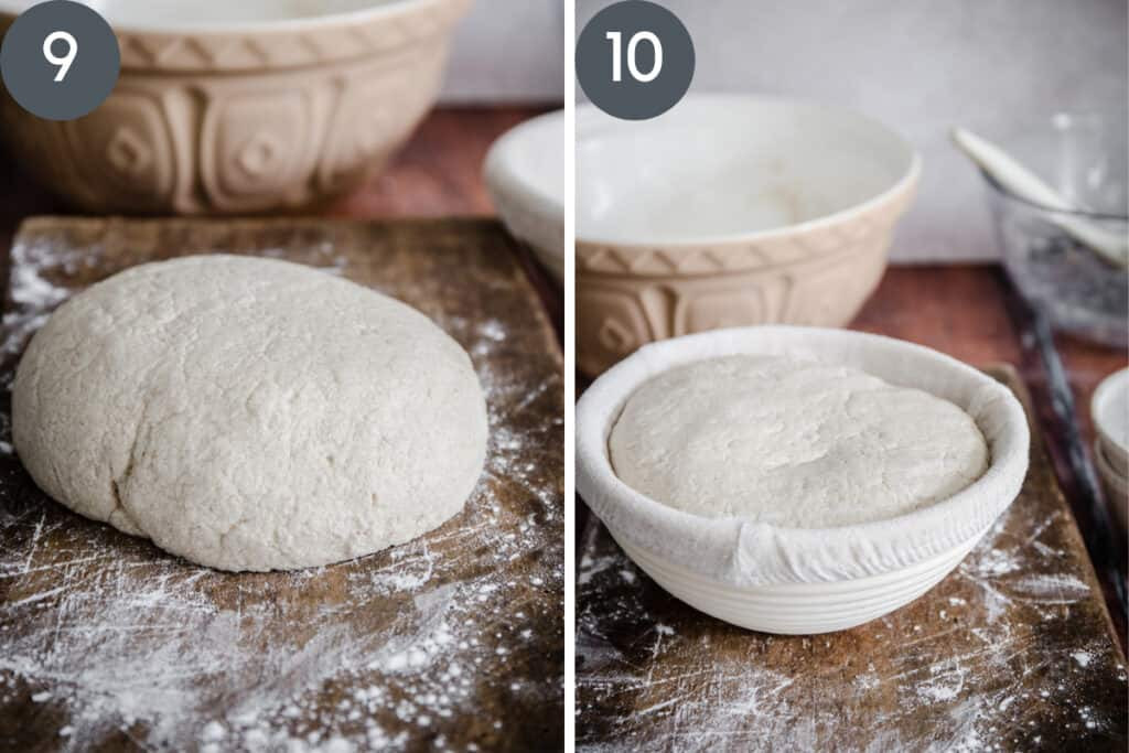 images showing sourdough bread being shaped and then in proving basket