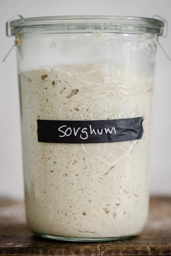 Close up of a jar of sourdough starter