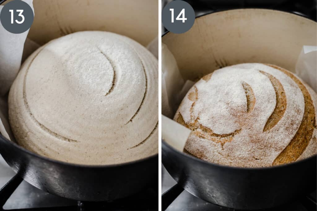 images showing sourdough bread in dutch oven before and after baking