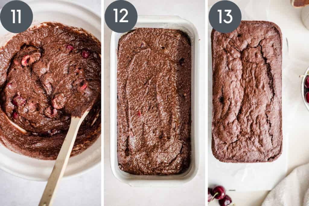 images of stirring cherries into cake batter and cake batter inside cake tin