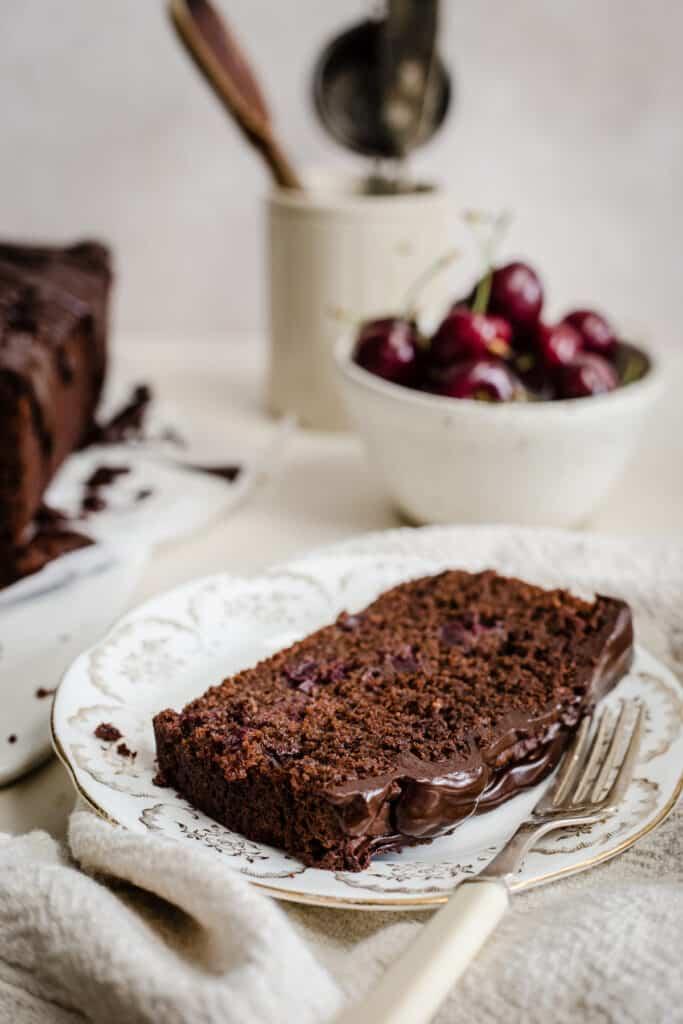 chocolate cherry cake on a plate